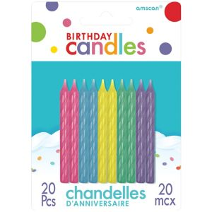 Multicolor Pastel Spiral Birthday Candles 20ct
