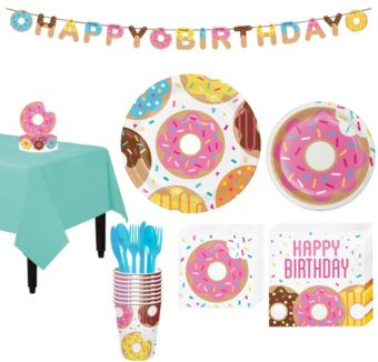 Donut Tableware Party Kit for 8 Guests