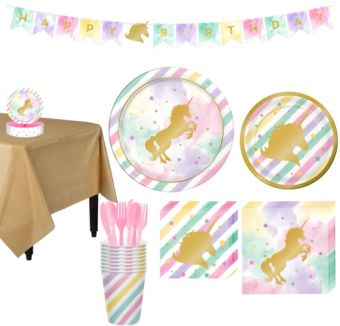 Sparkling Unicorn Tableware Party Kit for 8 Guests