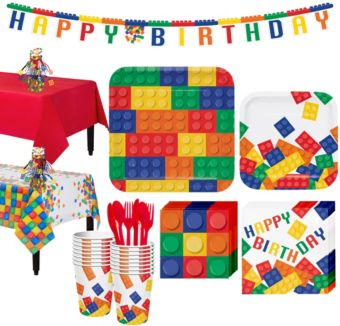 Building Blocks Tableware Party Kit for 16 Guests