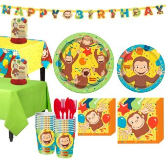 Curious George Tableware Party Kit for 16 Guests