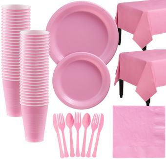 New Pink Plastic Tableware Kit for 50 Guests