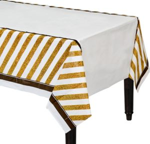 White & Gold Striped Table Cover