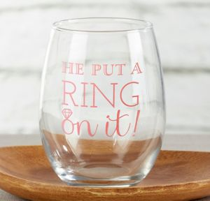 He Put a Ring on It Stemless Wine Glasses 12ct