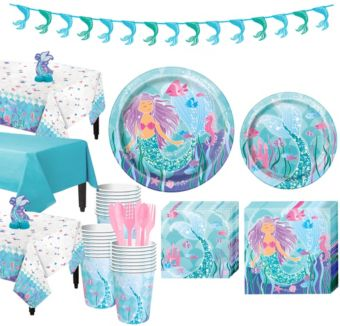 Mermaid Tableware Party Kit for 24 Guests
