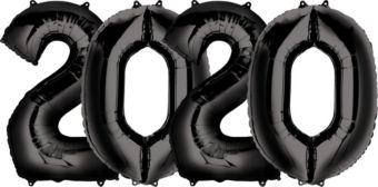 Giant Black 2020 Number Balloon Kit