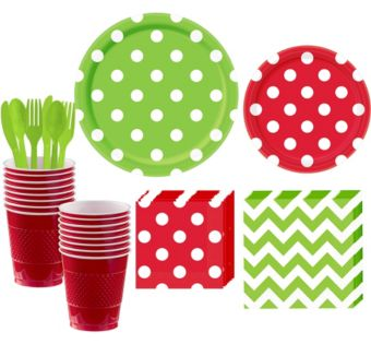 Red and Kiwi Green Polka Dot & Chevron Paper Tableware Kit for 16 Guests