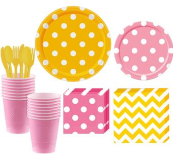 Pink and Yellow Polka Dot & Chevron Paper Tableware Kit for 16 Guests
