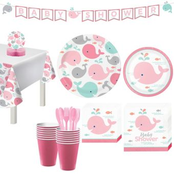 Pink Baby Whale Shower Kit 32 Guests
