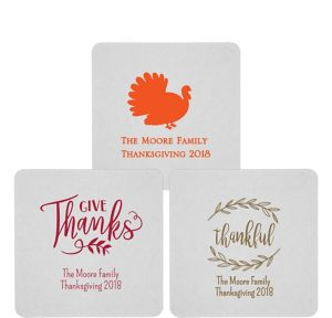 Personalized Thanksgiving 80pt Square Coasters