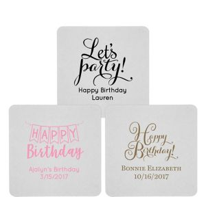 Personalized Birthday 80pt Square Coasters