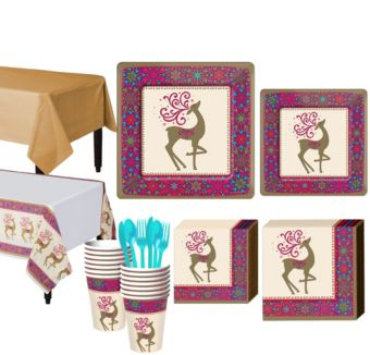 Whimsical Winter Deer Tableware Kit for 18 Guests