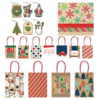 Kraft Christmas Gift Bag Kit