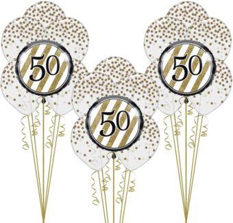 White & Gold 50th Happy Birthday Balloon Kit