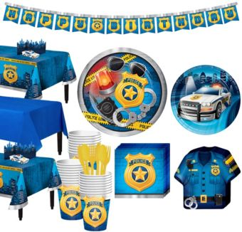 Police Tableware Party Kit for 24 Guests