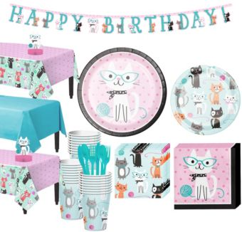 Purrfect Cat Tableware Party Kit for 24 Guests