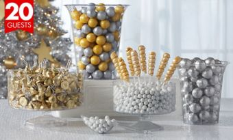 Silver and Gold Candy Kit with Containers for 20 Guest