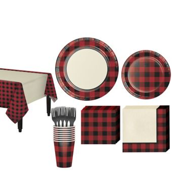 Buffalo Plaid Tableware Kit for 16 Guests