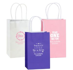 Personalized Medium 1st Birthday Kraft Bags