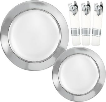 Premium Silver Border Tableware Kit for 20 Guests
