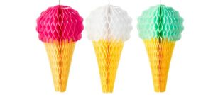 Green, Pink & White Ice Cream Honeycomb Decorations 3ct