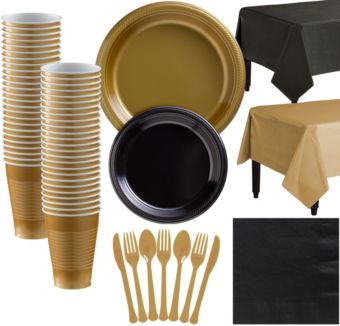 Gold & Black Plastic Tableware Kit for 50 Guests
