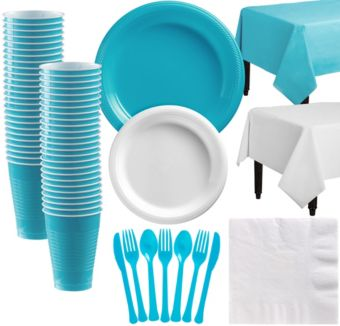 Caribbean Blue & White Plastic Tableware Kit for 50 Guests