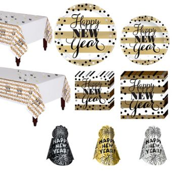 Golden Pattern New Year's Tableware Kit for 16 Guests