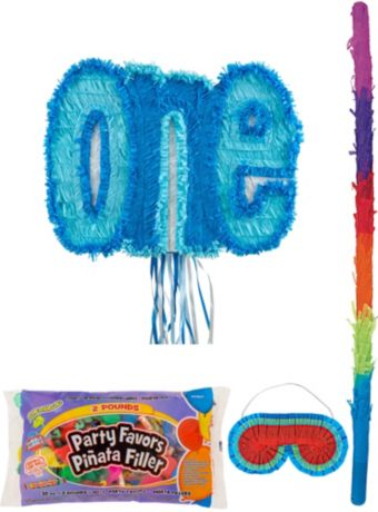 Blue One Pinata Kit with Candy & Favors