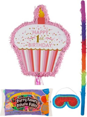 Pink Cupcake 1st Birthday Pinata Kit with Candy & Favors