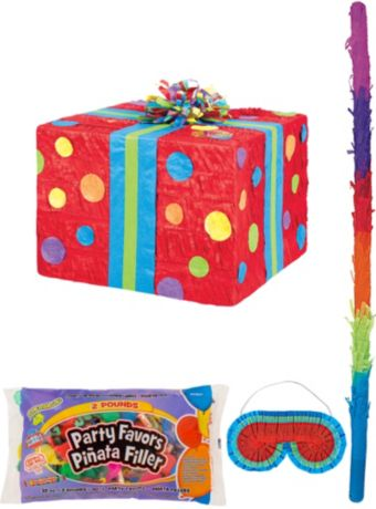 Polka Dot Present Pinata Kit with Candy & Favors