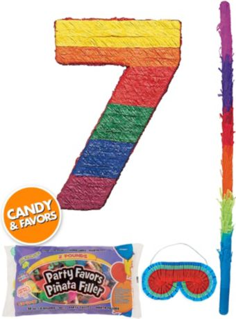 Rainbow Number 7 Pinata Kit with Candy & Favors