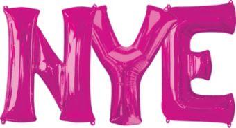 Giant Pink NYE Letter Balloon Kit 4pc