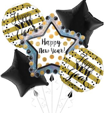 Giant Black, Gold & Silver Star New Year's Balloon Kit