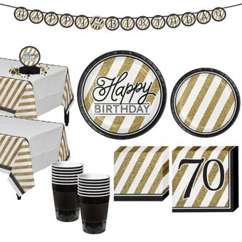 White & Gold Striped 70th Birthday Party Kit for 16 Guests