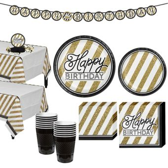 White & Gold Striped Birthday Party Kit for 16 Guests