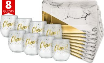 Metallic Gold & Marble Cocktail Party Kit for 8 Guests