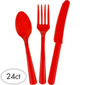 Red Cutlery Set 24ct