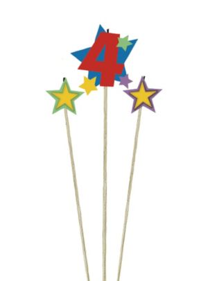 Number 4 Star Birthday Toothpick Candle Set 3pc