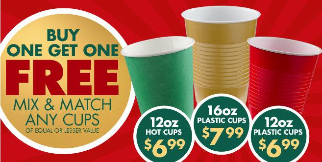 BOGO Plastic or Paper Cups #1