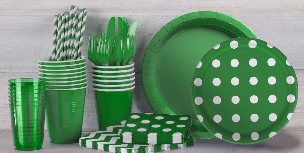Festive Green Polka Dot and Chevron Tableware