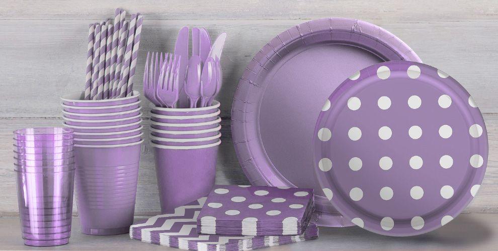 Lavender Polka Dot and Chevron Tableware