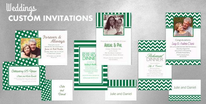 Festive Green Wedding Custom Invtitaions and Banners #1