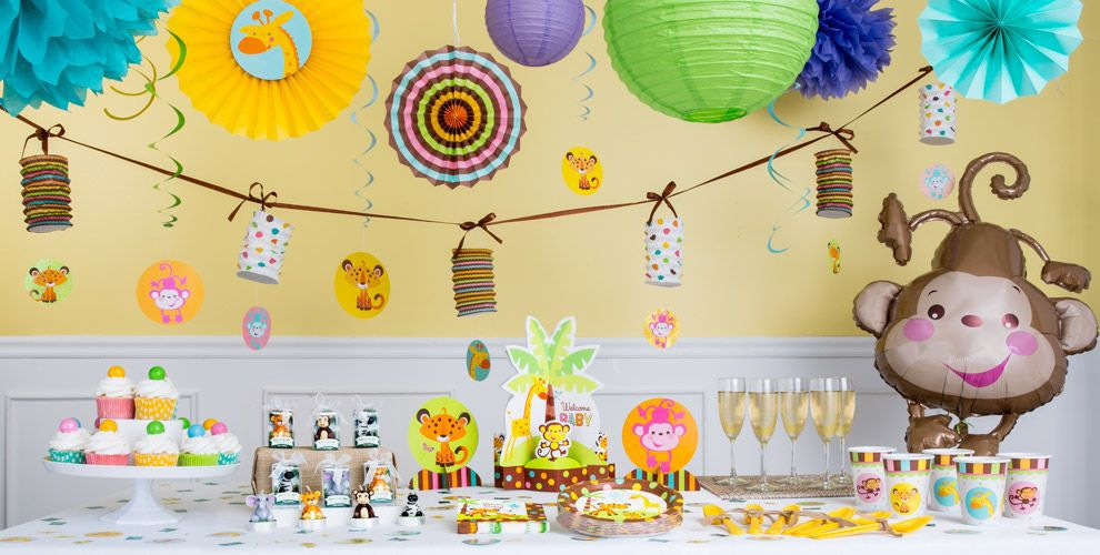 Fisher price jungle baby shower decorations party city for Baby welcome home decoration