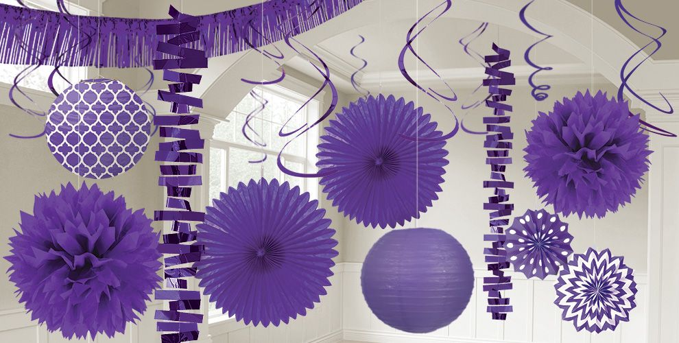 Purple decorations balloons banners confetti