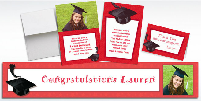 Red Graduation Custom Invitations and Banners #1