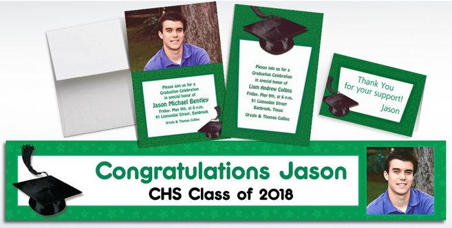 Green Graduation Custom Invitations and Banners #1