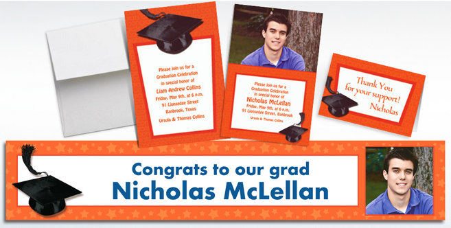 Orange Graduation Custom Invitations and Banners #1