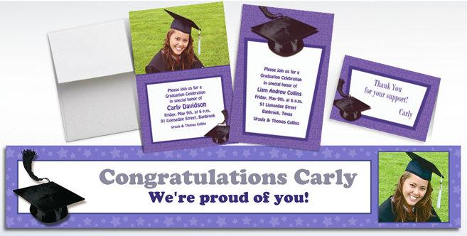 Purple Graduation Custom Invitations and Banners #1