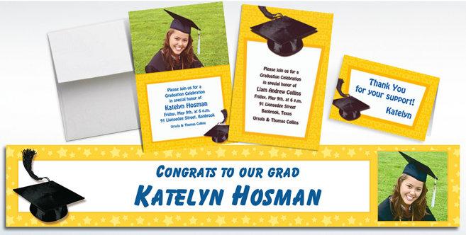 Yellow Graduation Custom Invitations and Banners #1